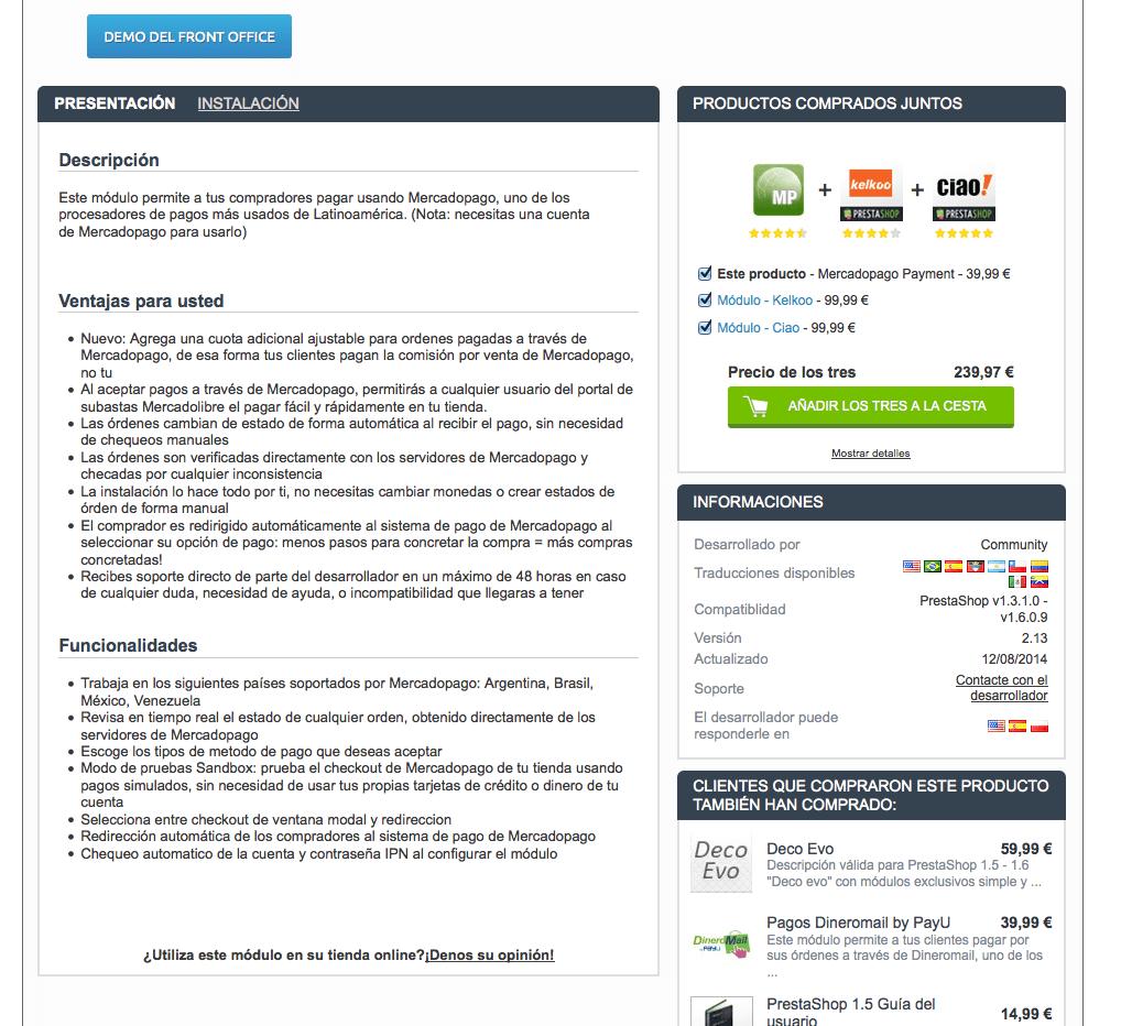 Módulo Mercadopago Payment, impacto en la plantilla