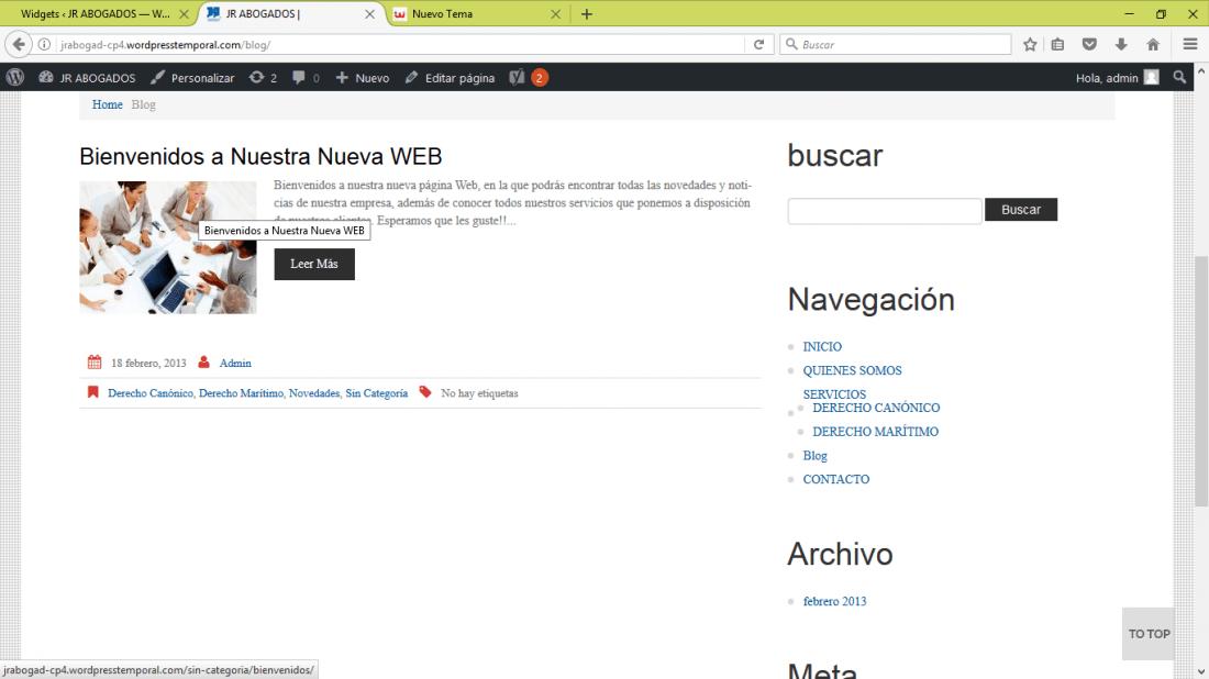 No veo Widgets seleccionados en el lateral de mi Wordpress