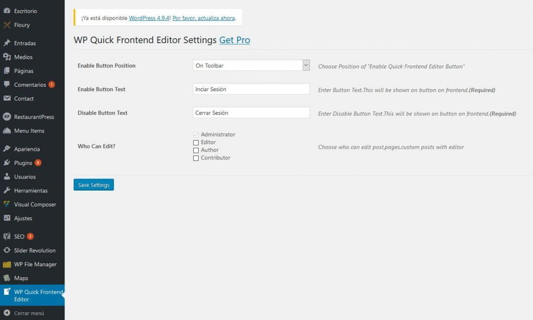 editar contenido desde el frontal web wordpress