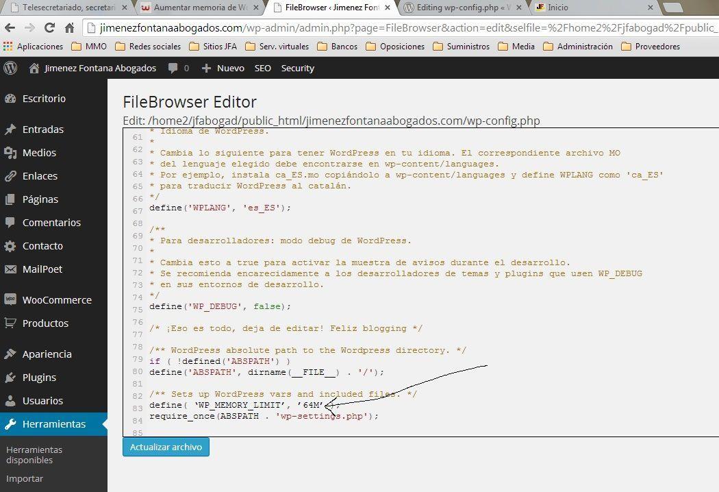 Aumentar memoria de Wordpress