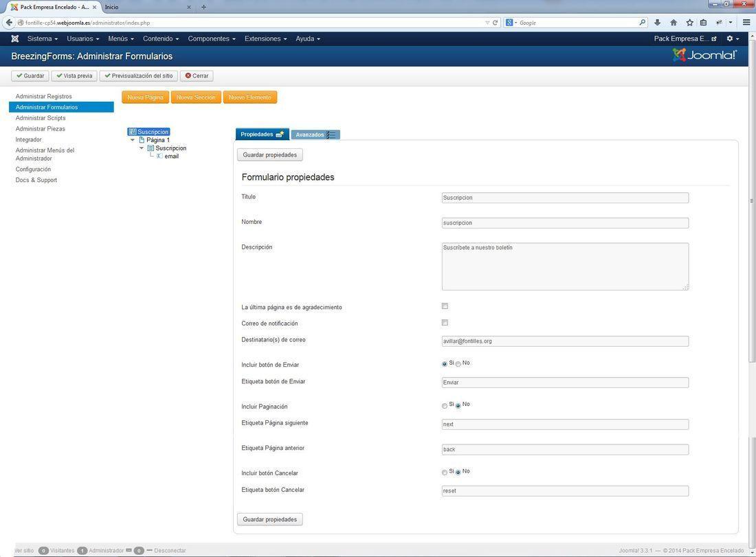 Encelado joomla: insertar formulario suscripción (1/2)
