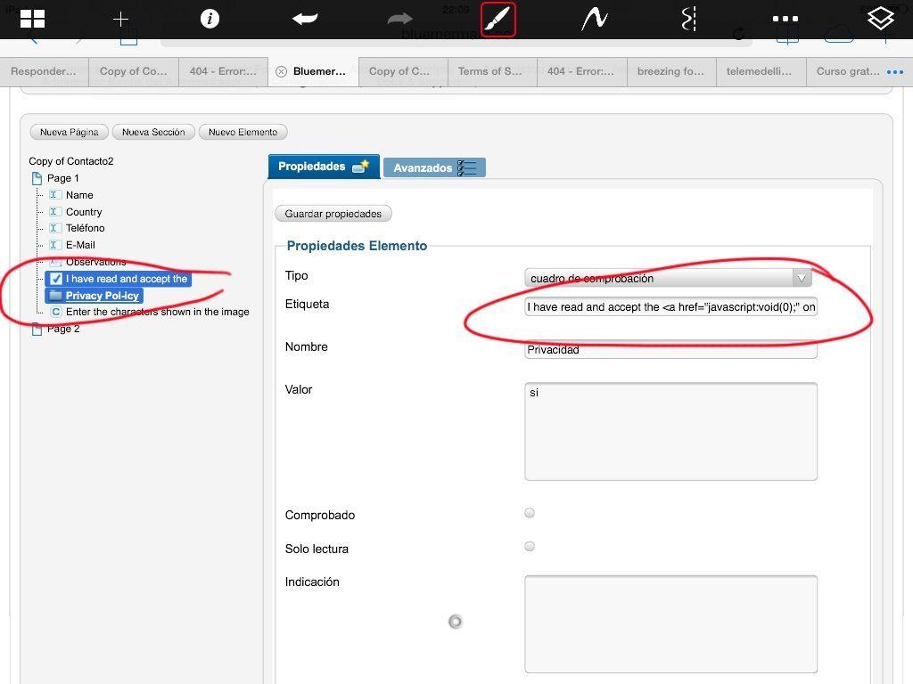 N puedo configurar el formulario de contacto en inglés y español