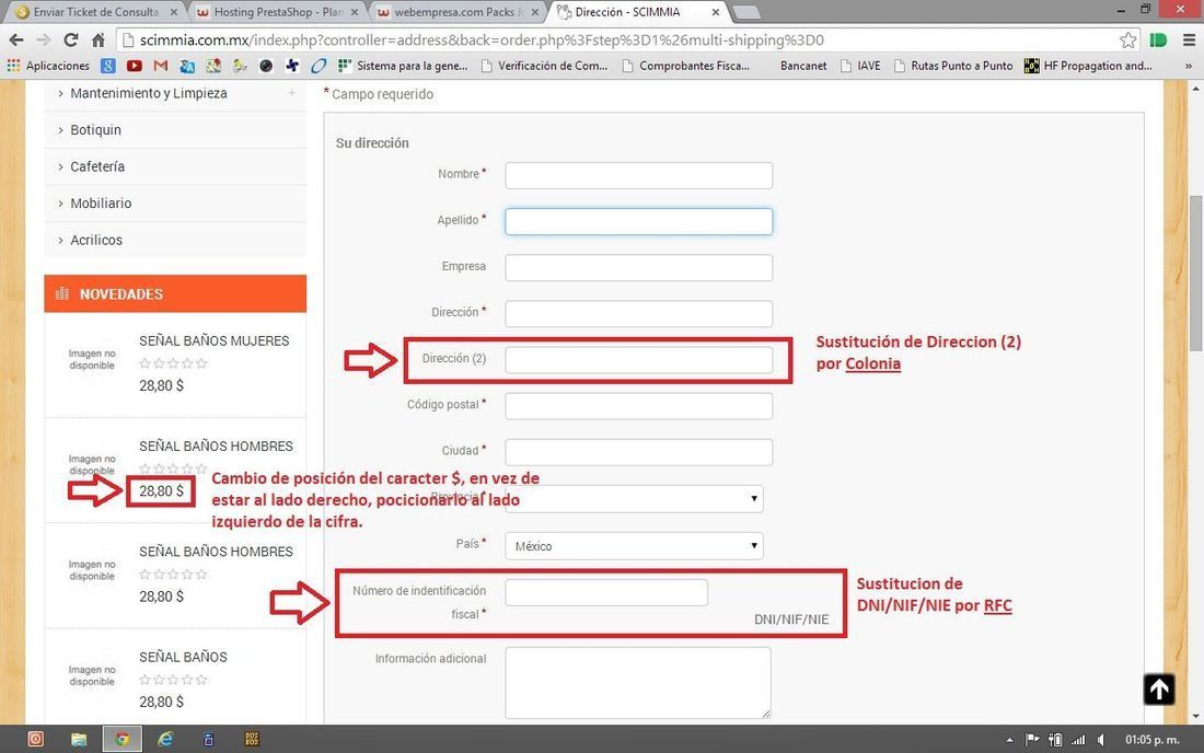 Modificación etiquetas de texto formulario de dirección.