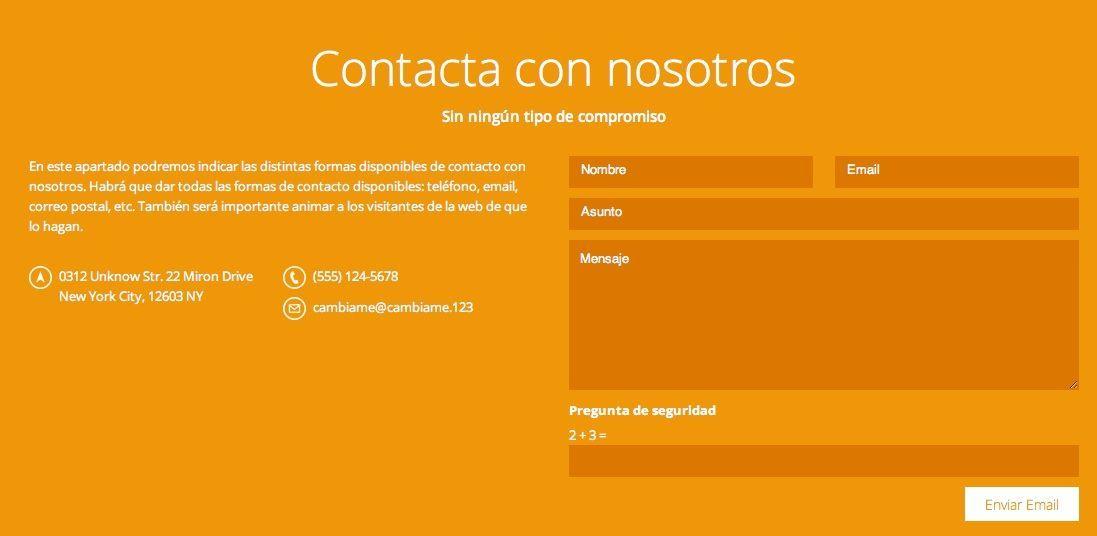 Módulo formulario de contacto desconfigurado en la plantilla OnePage