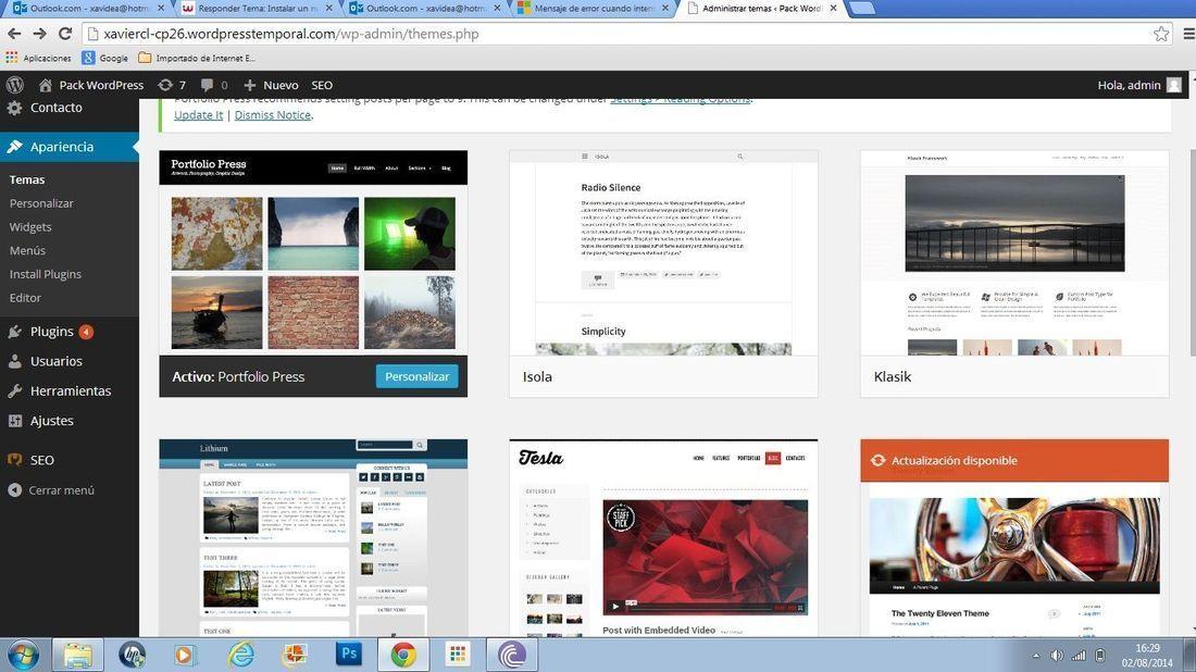Instalar un nuevo tema en el Pack Wordpress