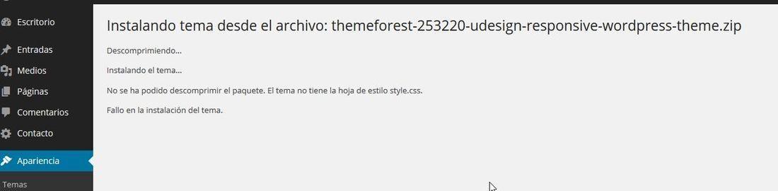 Al comprar e instalar tema uDesign, no tiene la hoja de estilo style.css