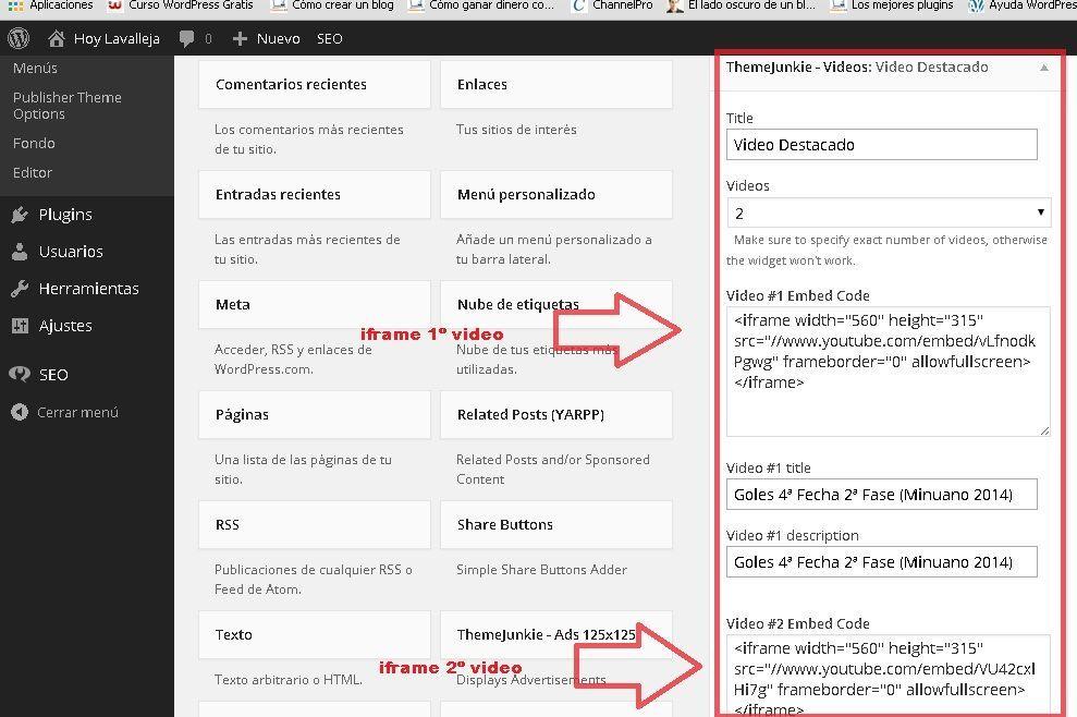Problema con el widget videos del tema publisher del pack noticias