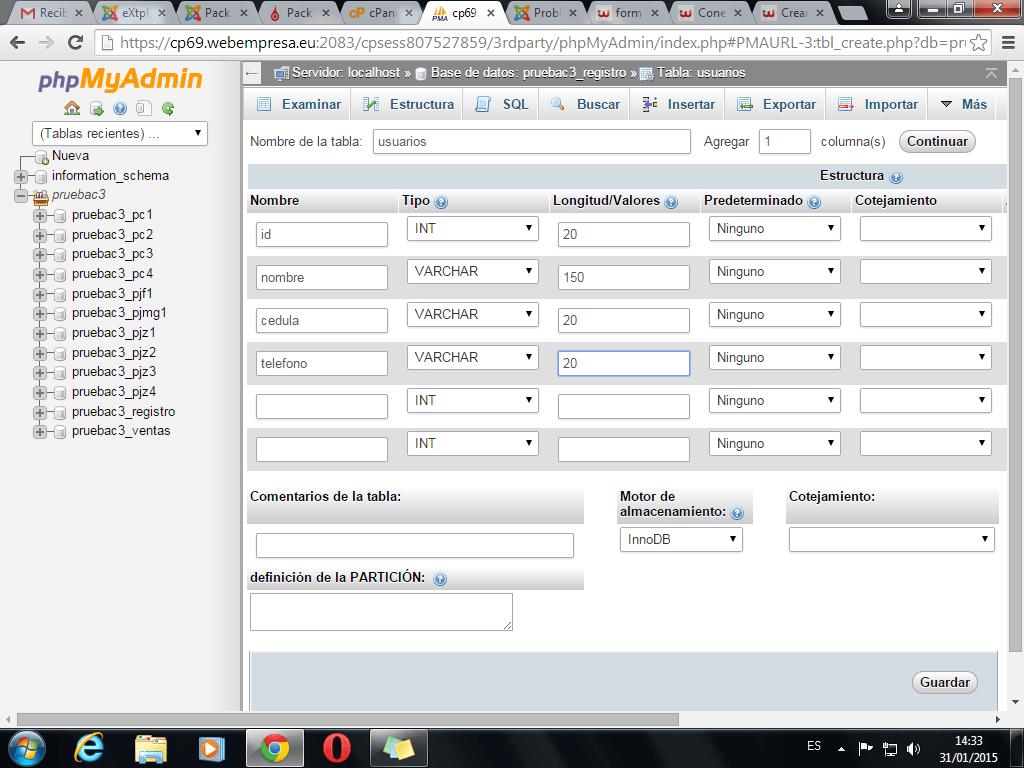 formulario para crear base de datos de clientes (1/2)