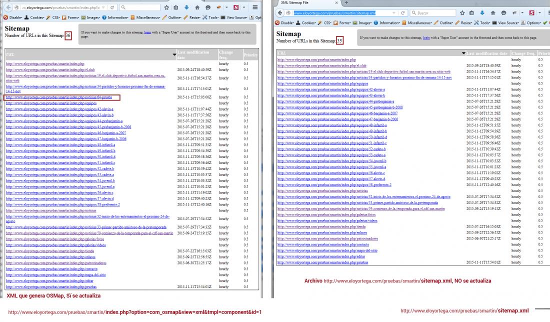 actualización dinámica de sitemap xml con osmap