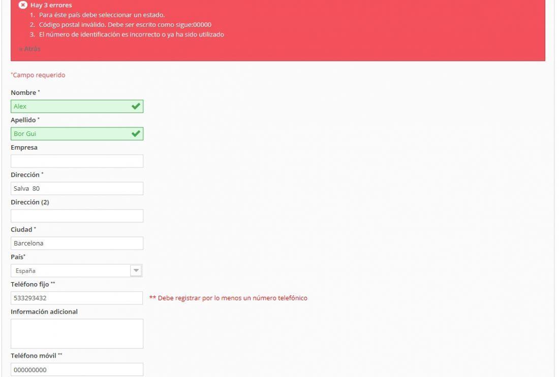 crear dirección usuario en plantilla Arce de Prestashop