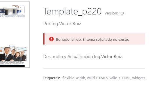 Error al intentar borrar tema inactivo wordpress 4.6.1