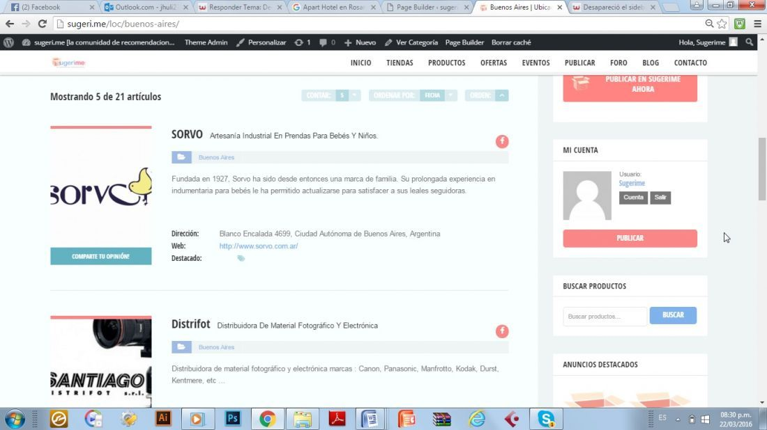 Desapareció el sidebar de la página de inicio Wordpress