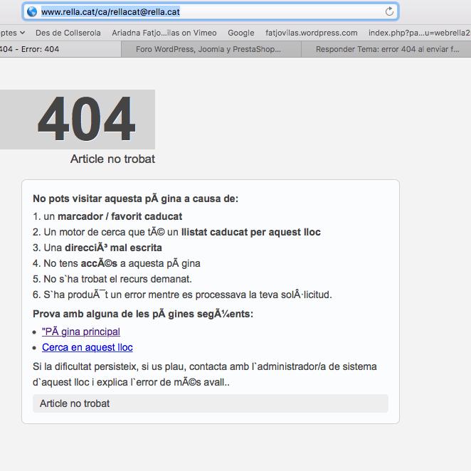 error 404 al enviar un formulario de contactos