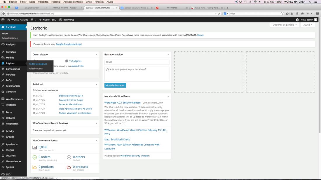 Fallo en la Lista de Paginas en el Administrador de mi Wordpress