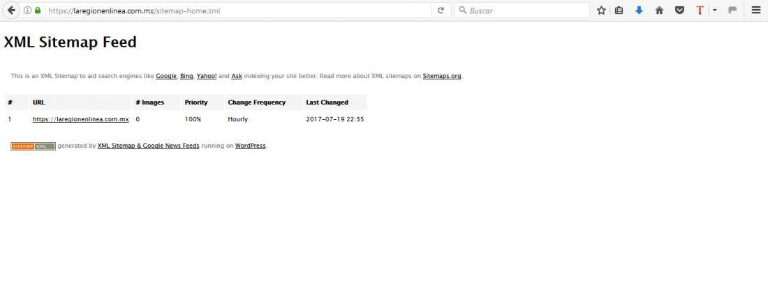 problema al crear el sitemap con xml sitemap google news feeds