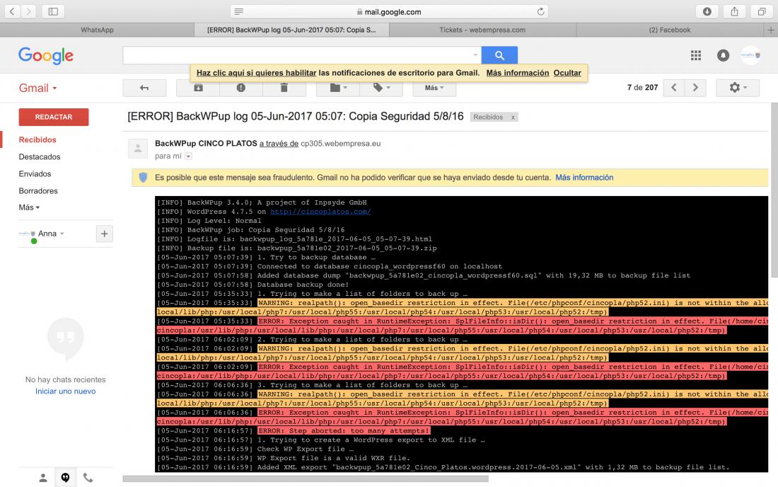 Problemas copias seguridad Wordpress BackWPup