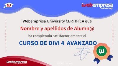 Modelo de Certificado Webempresa University Curso DIVI 4 Avanzado