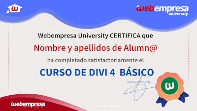 Modelo de Certificado Webempresa University Curso DIVI 4 Basico