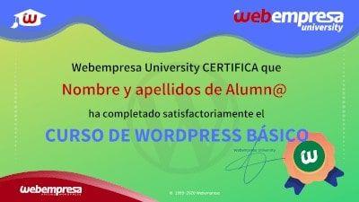 Modelo de Certificado Webempresa University Curso WordPress basico