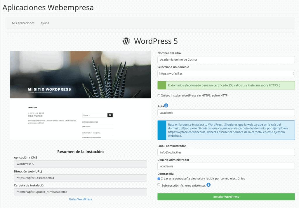 Instalación de WordPress desde cPanel