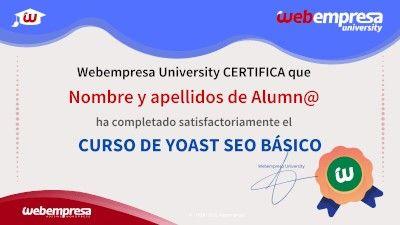 Modelo de Certificado Webempresa University Curso Yoast SEO Basico