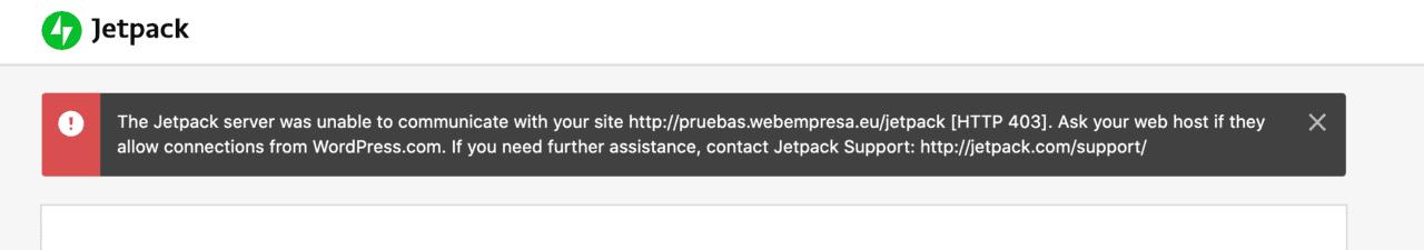 El servidor de Jetpack no pudo comunicarse con su sitio