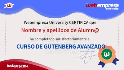 Modelo de Certificado Webempresa University Curso Gutenberg Avanzado