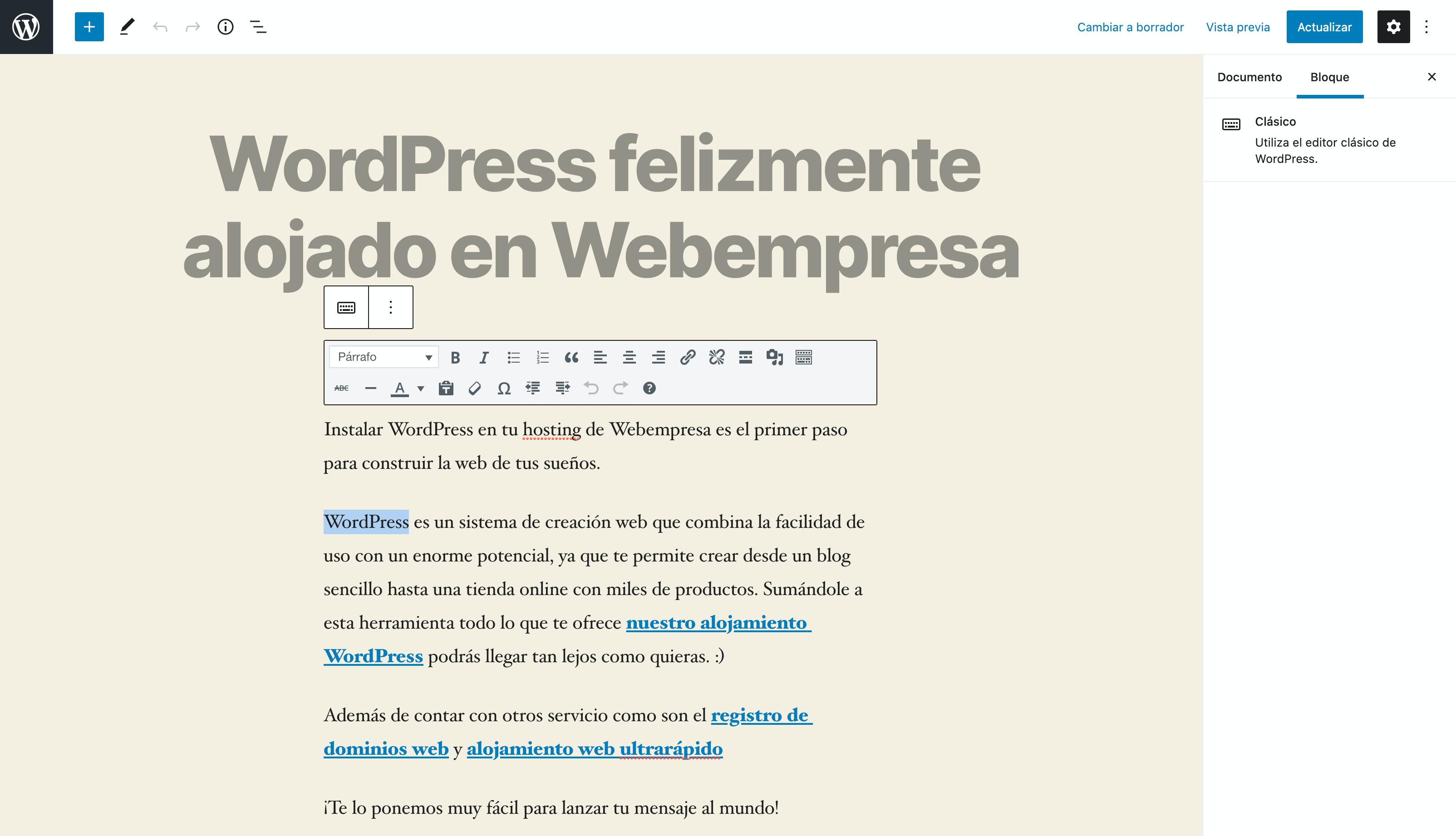 Editor de bloques Gutenberg en WordPress 5.x