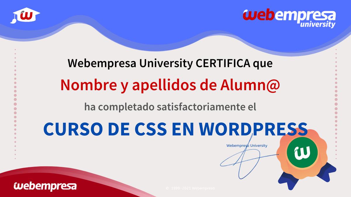 Certificación del Curso de CSS en WordPress
