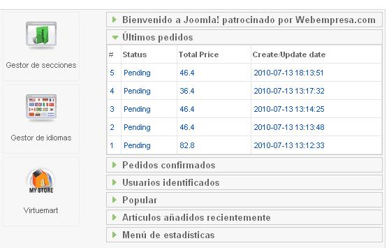 Pedidos de VirtueMart en el panel de control de Joomla