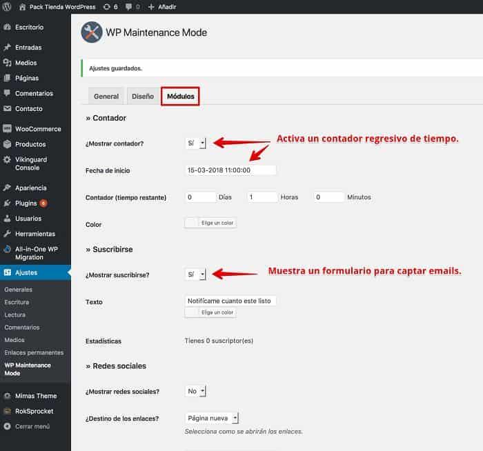 Configuración del plugin de Modo de Mantenimiento módulos