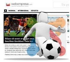 Módulo de resultados deportivos en la plantilla JA Teline IV del Pack Noticias