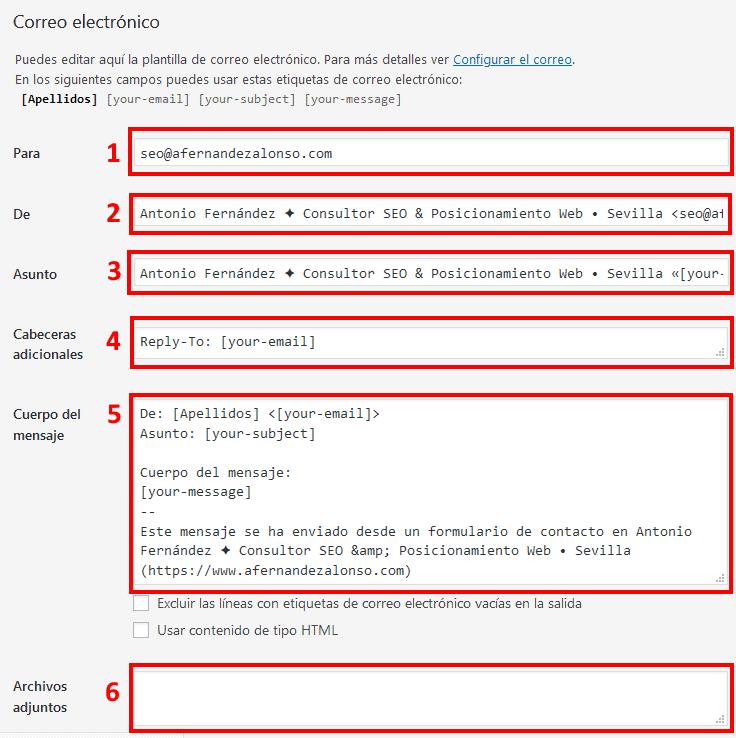 Configuración del mensaje de correo electrónico