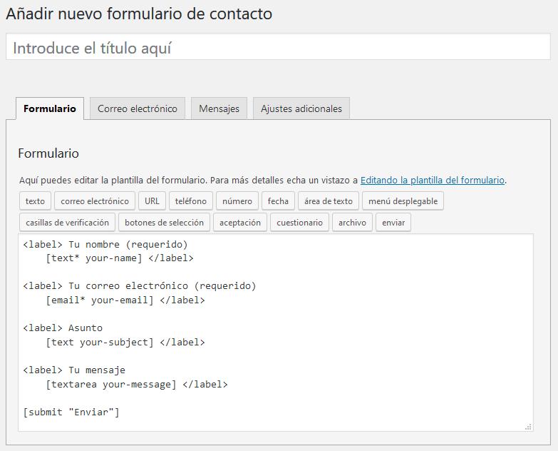 Cómo crear formularios con Contact Form 7: crear y editar formulario de contacto