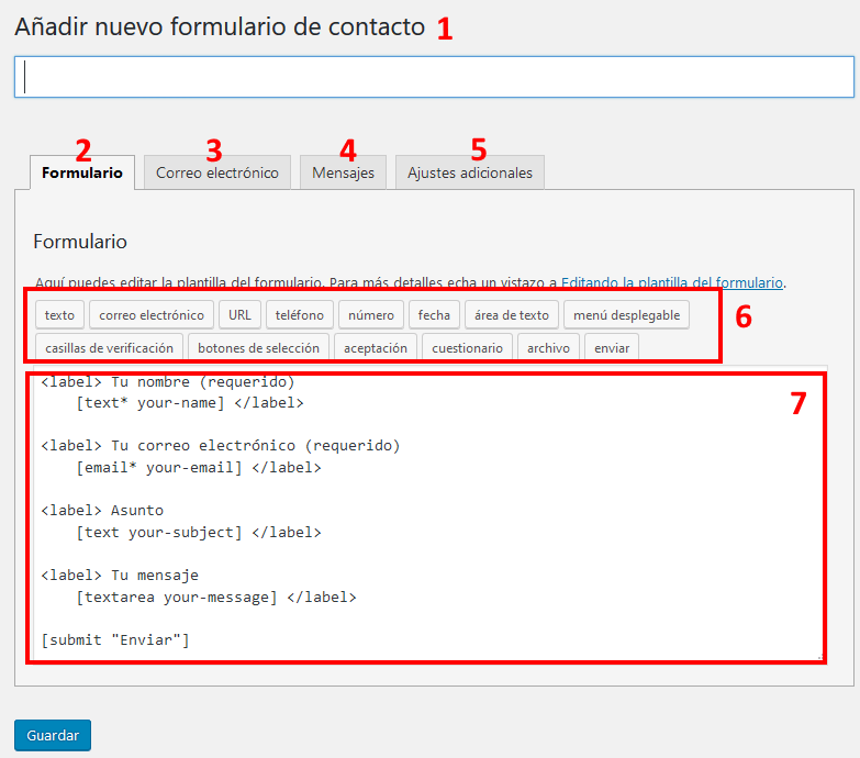 Editar formulario de contacto con Contact Form 7