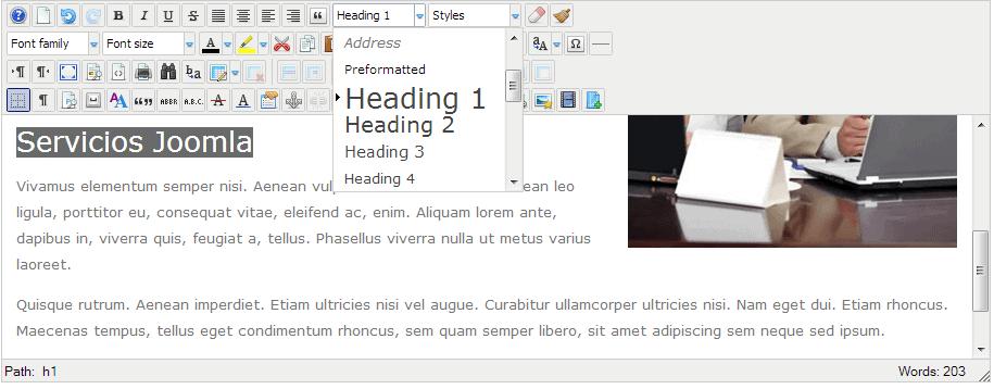 Uso de un Encabezado 2 o h2 en un artículo de Joomla con el editor JCE