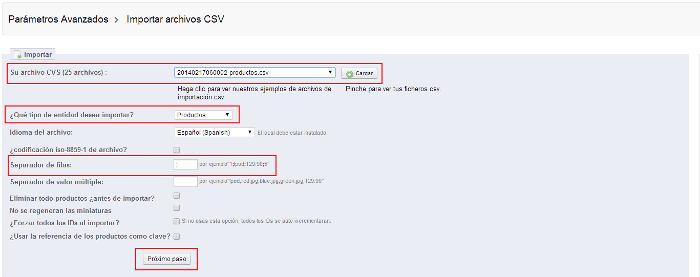 Prestashop importar ficheros csv