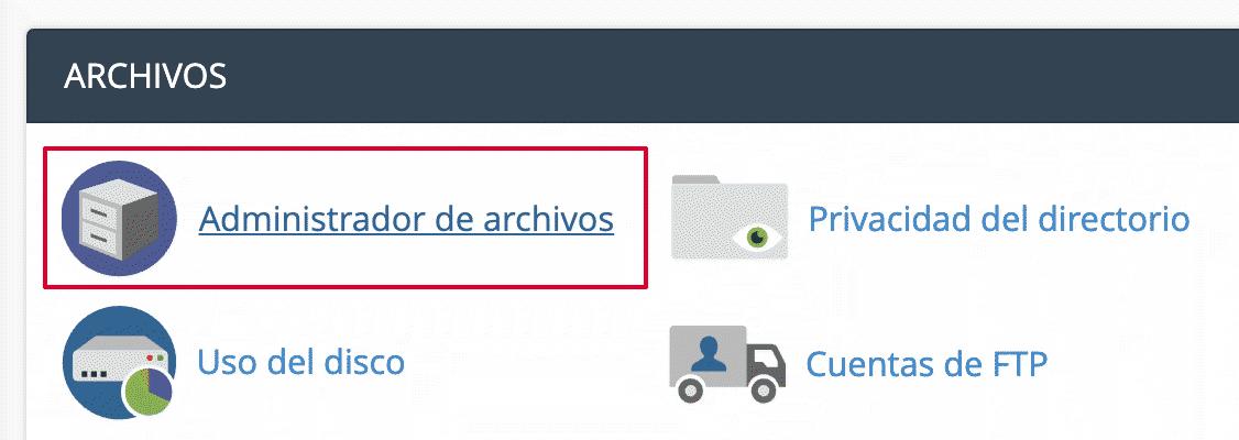 Administrador de Archivos Cpanel