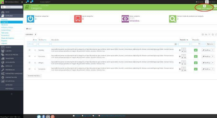 gestionar categorías prestashop 1.6