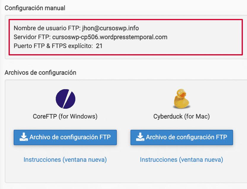 Datos conexion Cpanel