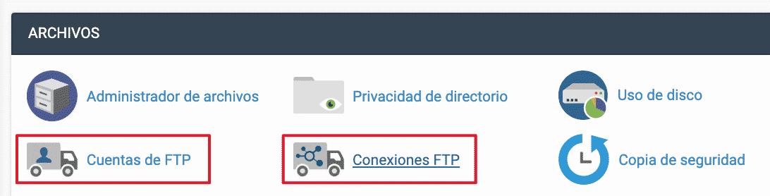 Opciones FTP en Cpanel