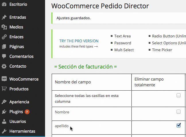 Campos WooCommerce