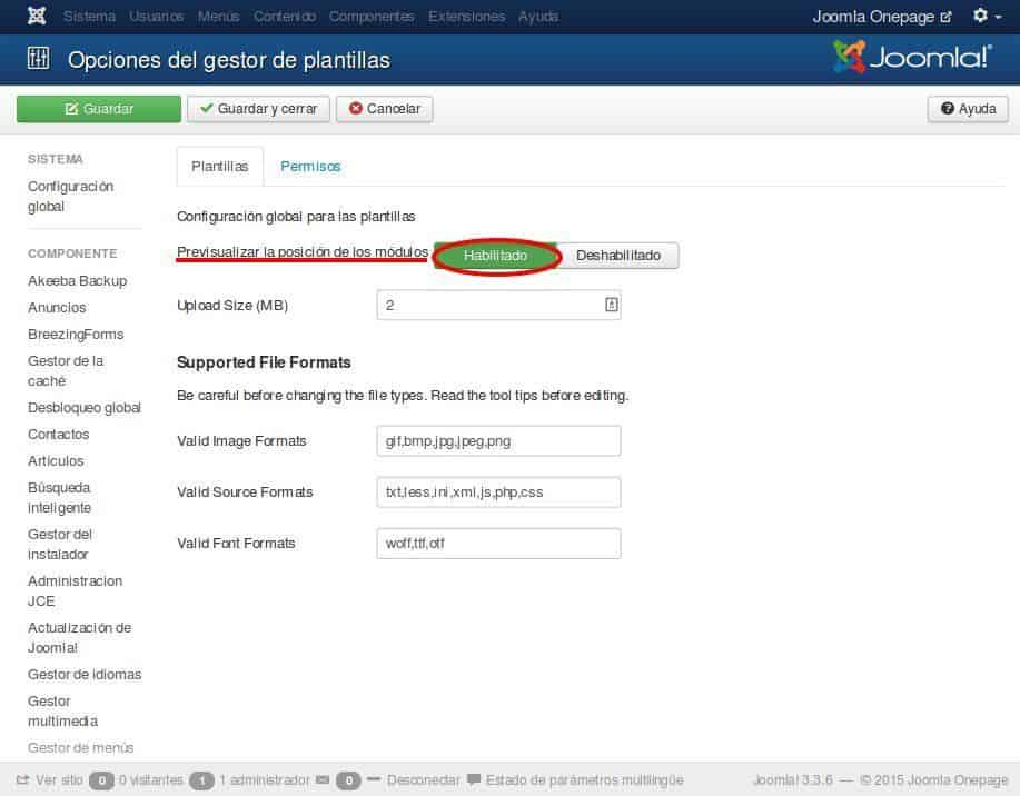 Configurar las opciones del gestor de plantillas de Joomla