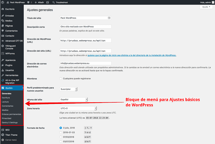 Ajustes de WordPress
