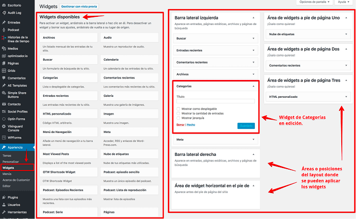 Widgets en WordPress
