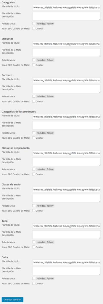 wordpress seo taxonomias