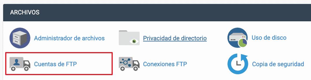 Aplicación FTP Cpanel