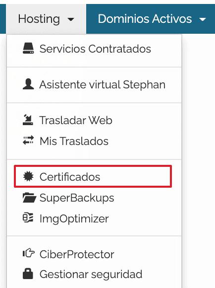 certificados area cliente
