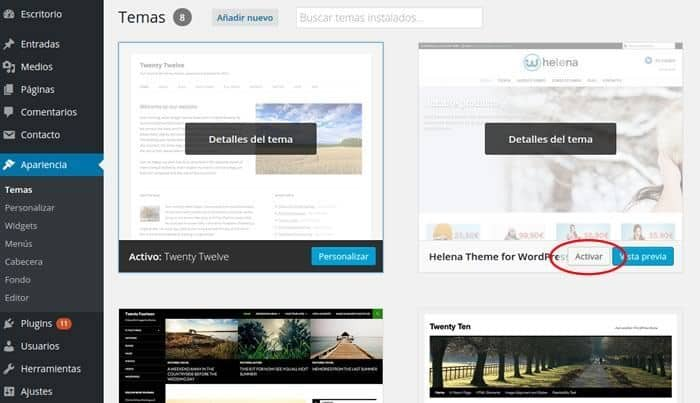 activar plantilla de wordpress