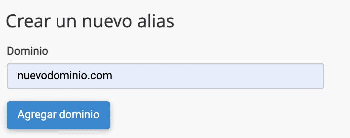 crear dominio alias